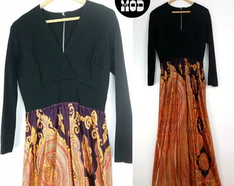 Awesome Psychedelic Vintage 70s Black Top Dress with Orange Paisley Pattern Maxi!