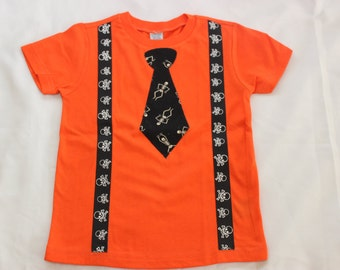 Boys Halloween Tie Shirt, Skeleton Tie Shirt Orange Halloween Shirt CLEARANCE