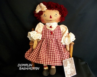 Primitive doll, raggedy Ann,15 in.collectible,hand made by Dumplinragamuffin