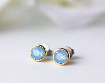 Small Air Blue Opal Swarovski Crystal Titanium Stud Gold Bezel Opalescent Simple Nickel Free