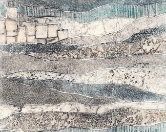 Packaged Print Studio Sale - hand-pulled collagraph OOAK landscape print Layers No. 4