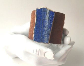 "leather cuff bracelet  - brown suede with gilded lapis slice - 2"" wide"