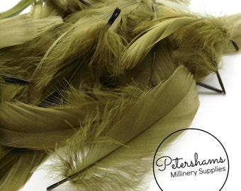 Loose Goose Nagorie Feathers for Millinery and Hat Trimming - Olive Green