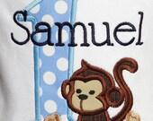 Personalized 1st Birthday Monkey Birthday Shirt or Monkey Bodysuit - Made FOR ANY AGE- Monkey First Birthday Shirt, Custom Colors, Boy, Girl