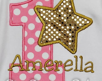 Star Birthday Shirt, Pink and Gold Star Birthday Shirt or Bodysuit, Star Birthday Party, Pink and Gold Star, Any Colors, Ages 1-9, Twinkle
