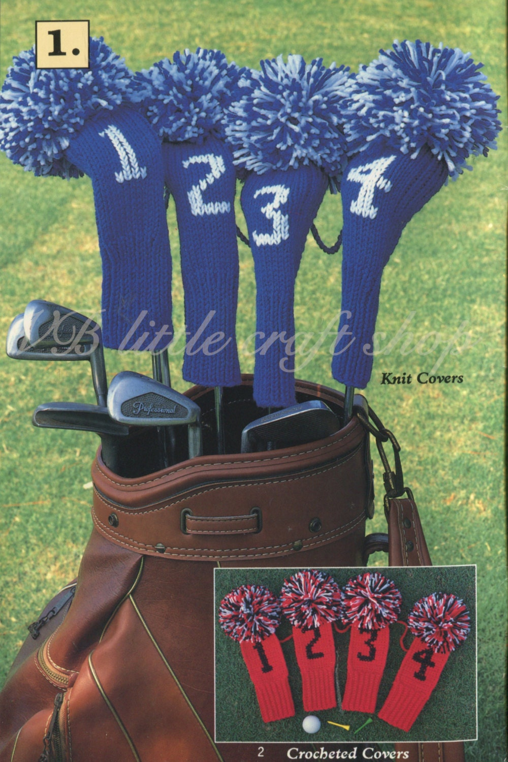 Golf club covers knitting and crochet pattern. Instant PDF