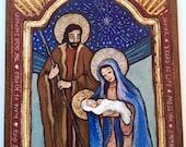 The Holy Family Nativity scene manger scene catholic gift religious gift baby shower gift retablo family gift Holy Family family gift