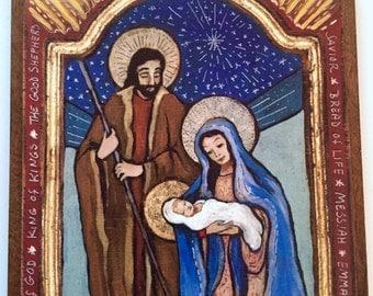 FREE SHIPPING The Holy Family Nativity scene manger scene catholic gift religious gift retablo family gift Holy Family family gift