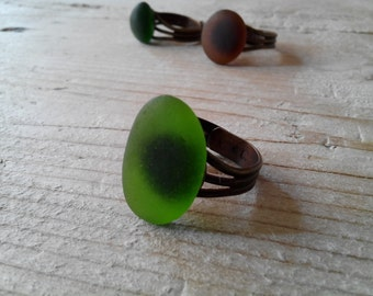 MERMAID's Tear RING - Organic kelly green glass Adjustable Ring with Genuine Natural Amalfi Sea Glass /nr97