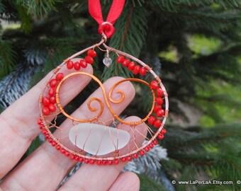 MERMAID'S TEARS decoration - Genuine Natural Amalfitan Coast Sea Glass Suncatcher Copper Wire Wrapped  - Christmas decoration