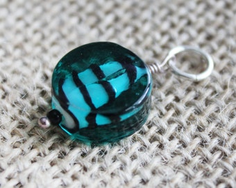 Teal & Black Striped Glass Pendant | Blue-Green Bead Pendant Sterling Silver Necklace | Bold Jewelry