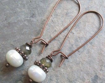 Labradorite, Freshwater Pearl & Copper Earrings - Bohemian style jewelry