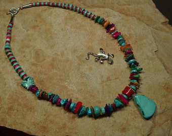 Turquoise,Red Coral,Shell Silver Necklace