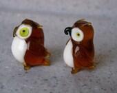 Glass Owl Miniature Figurines vintage pair