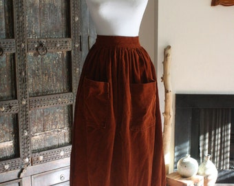 vintage rust corduroy skirt with deep front pockets