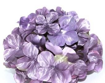 Large Metallic Lavender Purple Hydrangea Bunch - Full Head - Artificial Flowers, Blossoms, Silk Flowers - PRE-ORDER