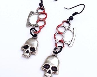 "Silver Skull and Red Bloody ""Brass"" Knuckles Earrings, Dangle Skull Earrings"