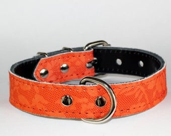 Orange Leather Dog Collar - Orange Floral Leather Dog Collar - Floral Leather Collar - Grandmothers Table Cloth Design Leather Collar