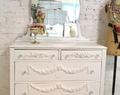 Painted Cottage Chic Shabby French Dresser with Tiara Mirror DR853