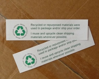 """PDF Recycled Shipping Materials, For shops that reuse boxes and shipping supplies, DIY, Print it yourself, Prints 20 per page 4"""" x 1"""" each"""