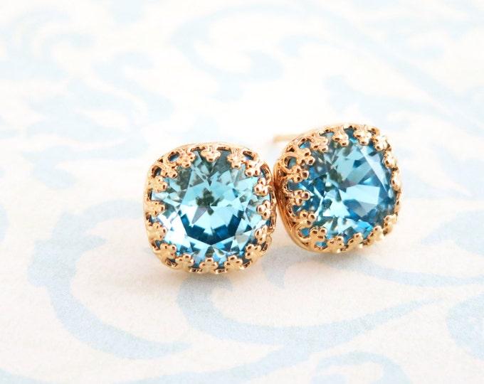 Emma - Aquamarine Blue Swarovski Crystal Gold Ear Studs, Wedding Bridesmaid Earrings Jewelry, Swarovski Studs Square Cushion 10mm