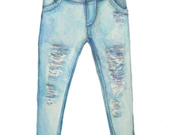 minimalist watercolor print: Jeans