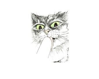 minimalist ink print: Gutter Cat