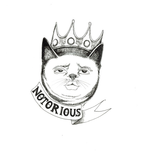ink drawing print: Notorious C.A.T.