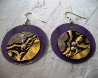 Recycled, Layered, Riveted Metal Tin Earrings