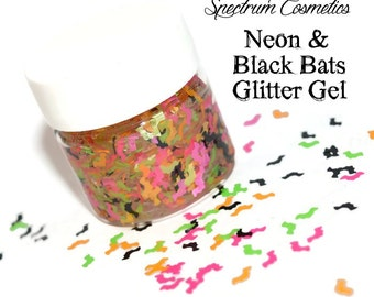 HALLOWEEN Neon and Black Bats GLITTER GEL for Face, Body, and Hair