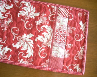 red and white Roman Holiday with Fruitcake tablerunner - FREE SHIPPING