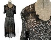 1930s lace dress sheer black lace dress Size M
