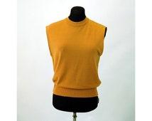 1960s knit top shell sleeveless back zipper gold sweater top Size L