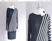 45% OFF SALE.... vintage sweater dress • black and white • xs small • 1990s sweater dress