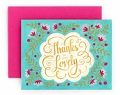 Thanks for Being Lovely | Thank You Greeting Card | Hand Lettered | Turquoise | Floral Pattern | Box Set of 8 | A2 |  Made in USA | BC018