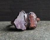 Raw Amethyst Ring Topaz Rough Stone Jewelry Raw Crystal Dual Stone Size 9 Ring February Birthstone Ring Copper Gemstone Ring