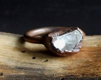 Raw Crystal Quartz Copper Ring Gemstone Size 6 Artisan Jewelry Handmade