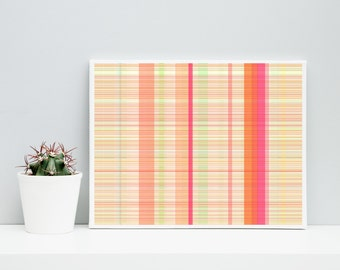 Orange and Pink Abstract Art, Giclee on cotton rag paper, Paul Klee inspired living room wall art  geeky home decor Limited Edition Plaid_9w