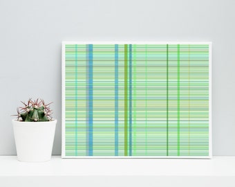 Abstract Art  Plaid_9r,  Limited Edition Giclee 10x8 cotton rag paper, Paul Klee inspired living room wall art blue, green, olive geeky