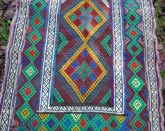 "REDUCED: Bright Runner Gazi hand woven Rug/Kilim/Tapis 6 ft 5"" x 2 ft 1"" 196x 64 cm"