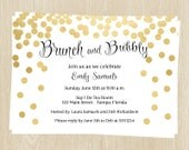 Bridal Shower Invitations, Gold, Confetti, Champagne, Wedding, Set of 10 Printed Cards, FREE Shipping, BRABY, Brunch & Bubbly
