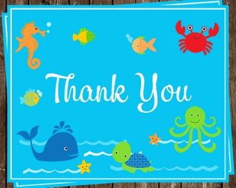 Under the Sea, Thank You Cards, Baby Shower, Birthday, Bright, Blue, Turtle, Whale, Crab, Fish, Fish, 24 Folding Notes, SEABB, Sea Buddies