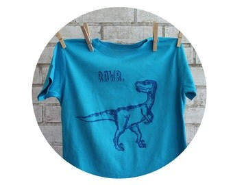 Dinosaur T Shirt, Turquoise Blue Children Or Toddlers RAWR tee shirt, Raptor, Cotton crew neck tshirt, Screenprinted Shirt, Youth Clothing