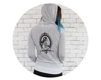 Roller Derby Burnout Hoodie, Skate or Die Skeleton Skater Fleece Hooded Sweatshirt With Full Zip Cement Grey Screenprint Roller Skate Jacket