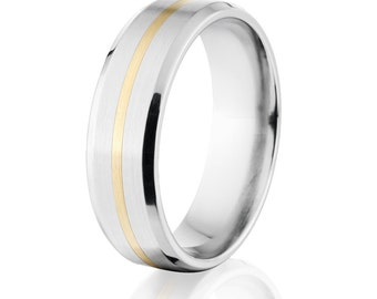 7mm Flat Tapered Edge Cobalt Chrome Ring w/14k inlay:Cobalt 7FT11G-B-Gold-Inlay