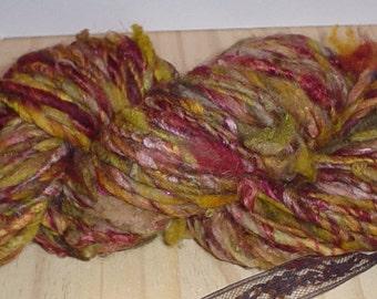 Handspun Yarn Super Soft Merino Wool Art Yarn - Harvest Time - 70 Yards