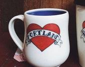 custom order for nic: two Portland love mugs