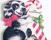 Christmas Dog Tags - Black Spaniel Tag - Set Of 3 - Retro Xmas Tag - Candy Cane Tag - Christmas Pet Tag - 1950's Dog Tags - Holiday Tags