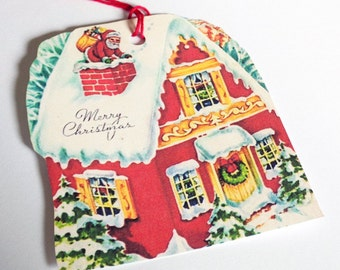 Christmas Gift Tags - Retro Red House - Set of 3 - Christmas House - 1950's Xmas Tags - Santa Brings Toys - Snowy House - Holiday House -