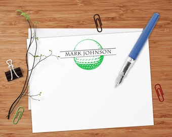 Golf Ball - Set of 8 CUSTOM Personalized Flat Note Cards/ Stationery
